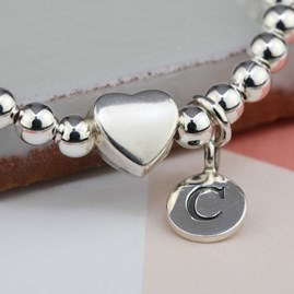 Personalised Tilly Silver Heart Bracelet