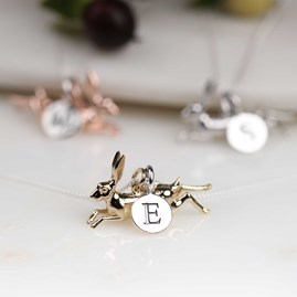 Personalised Leaping Hare Necklace Gold