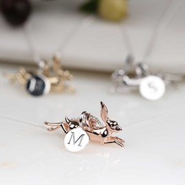 Personalised Leaping Hare Necklace Rose Gold
