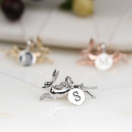 Personalised Leaping Hare Necklace Silver