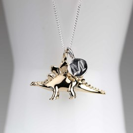 Personalised Solid Silver Stegosaurus Necklace