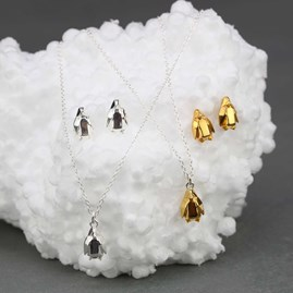 Stunning Gold Or Silver Origami Penguin Necklace