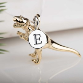 Personalised Solid Silver T Rex Necklace Gold