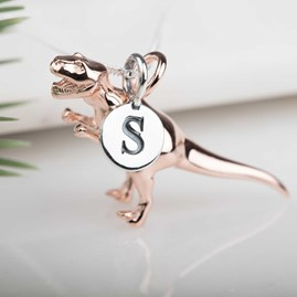 Personalised Solid Silver T Rex Necklace Rose Gold