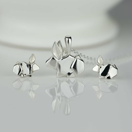 Stunning Silver Origami Rabbit Necklace