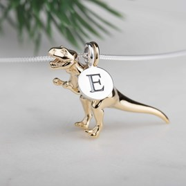 Personalised Solid Silver T Rex Necklace