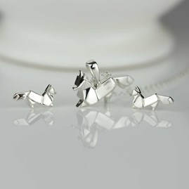 Stunning Silver Origami Fox Necklace