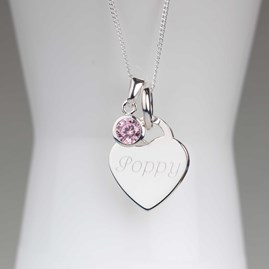 Engraved Silver Heart Necklace With Birthstone