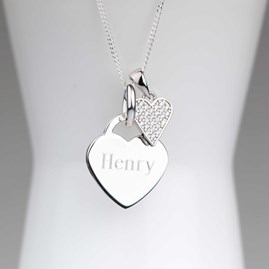 Engraved Silver Heart Necklace With Sparkly Heart