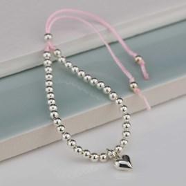 Personalised Children's Silver Friendship Bracelet Pink