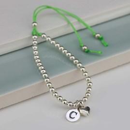 Personalised Children's Silver Friendship Bracelet Green