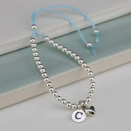 Personalised Children's Silver Friendship Bracelet Blue