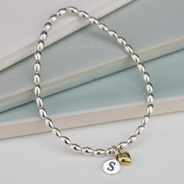 Personalised Silver Friendship Bracelet Heart Charm