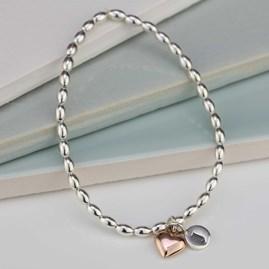Personalised Silver Friendship Bracelet Heart Charm