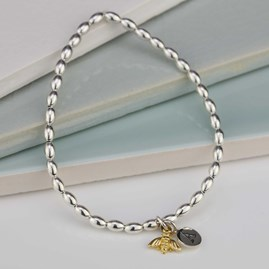 Personalised Bee Charm Silver Friendship Bracelet