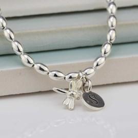 Personalised Bee Charm Silver Friendship Bracelet