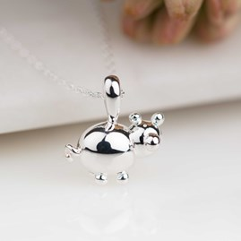 Personalised Solid Silver Balloon Pig Pendant