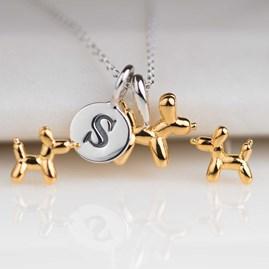 Gold Balloon Dog Stud Earrings
