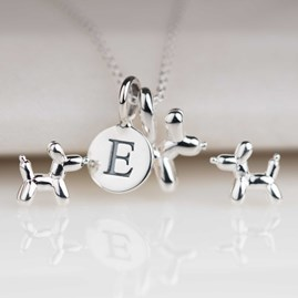 Personalised Silver Balloon Dog Pendant