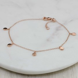 Stunning Bracelet With Five Small Discs Rose Gold