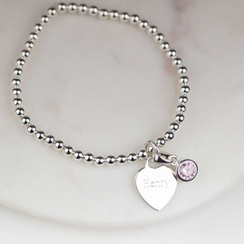 Personalised Children's Birthstone Skinny Bracelet