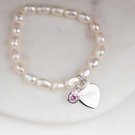 Personalised Children's Pearl Birthstone Bracelet