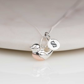 Personalised Silver And Rose Gold Robin Pendant