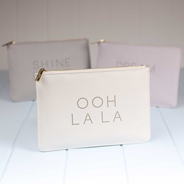 'Ooh La La' Metallic White Perfect Pouch