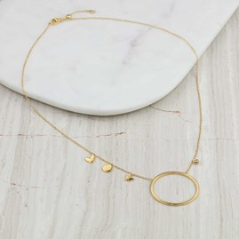 Necklace With Large Hoop And Small Charms