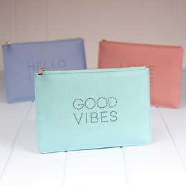 'Good Vibes' Soft Mint Perfect Pouch