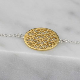 Silver, Gold Or Rose Gold Circular Filigree Bracelet