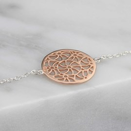 Silver, Gold Or Rose Gold Circular Filigree Bracelet
