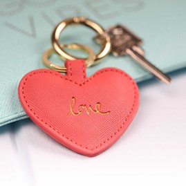'Love' Deep Pink Heart Keyring