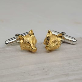 Gold Sculpted Fox Cufflinks