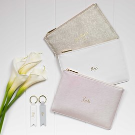 Katie Loxton Personalised 'Mrs' Bridal White Perfect Pouch
