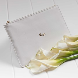 Personalised 'Mrs' Bridal White Perfect Pouch