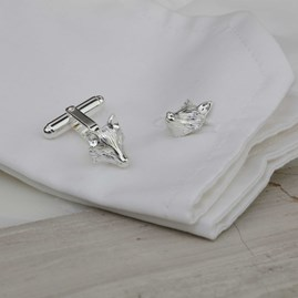 Solid Silver Sculpted Fox Cufflinks