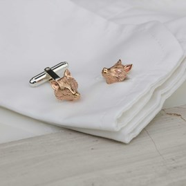 Rose Gold Sculpted Fox Cufflinks
