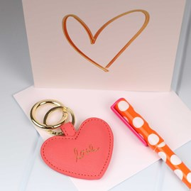 Embossed Golden Heart Greetings Card