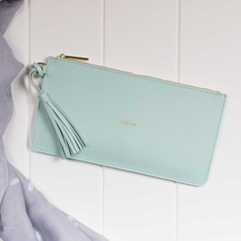 Katie Loxton Personalised 'Love Life' Keepsake Clutch In Powder Mint