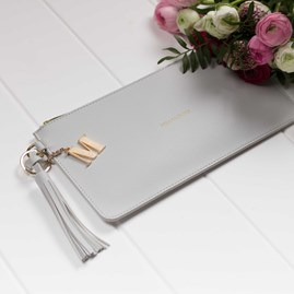 Katie Loxton Personalised 'Hello Lovely' Clutch In Dove Grey