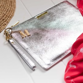 Personalised Luxe Sparkly Silver Evening Clutch Bag