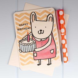 'Bunny Candle Cake' Birthday Card