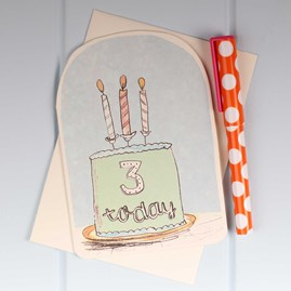 'Three Today' Birthday Card