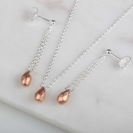 Solid Silver Hammered Teardrop Earrings Rose Gold