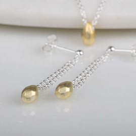 Solid Silver Hammered Teardrop Earrings Gold