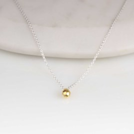 Solid Silver Hammered Teardrop Necklace Gold