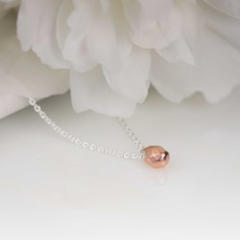 Solid Silver Hammered Teardrop Necklace Rose Gold