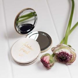 'Fabulous Friend' Compact Mirror In Metallic Silver