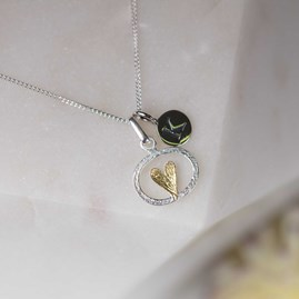 Personalised Silver And Gold Oval Heart Pendant